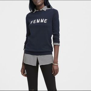 Banana Republic Embroidered Femme Navy Sweater XL
